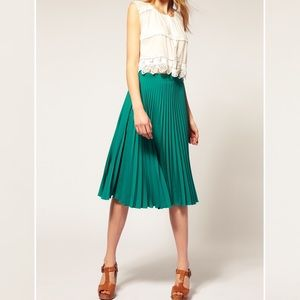 Asos Green Pleated Midi Skirt